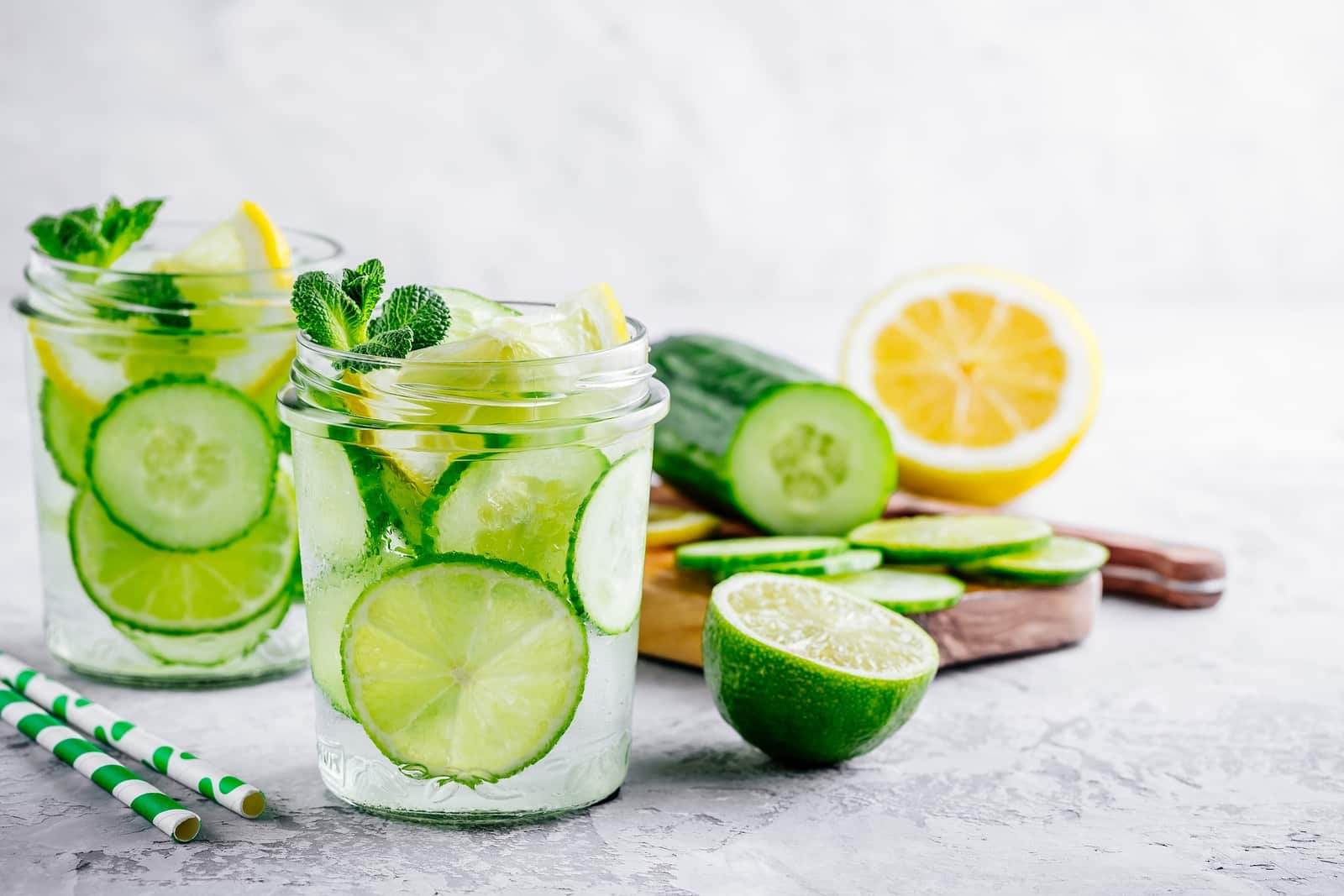 Lemon cucumber water to beat bloat after Thanksgiving