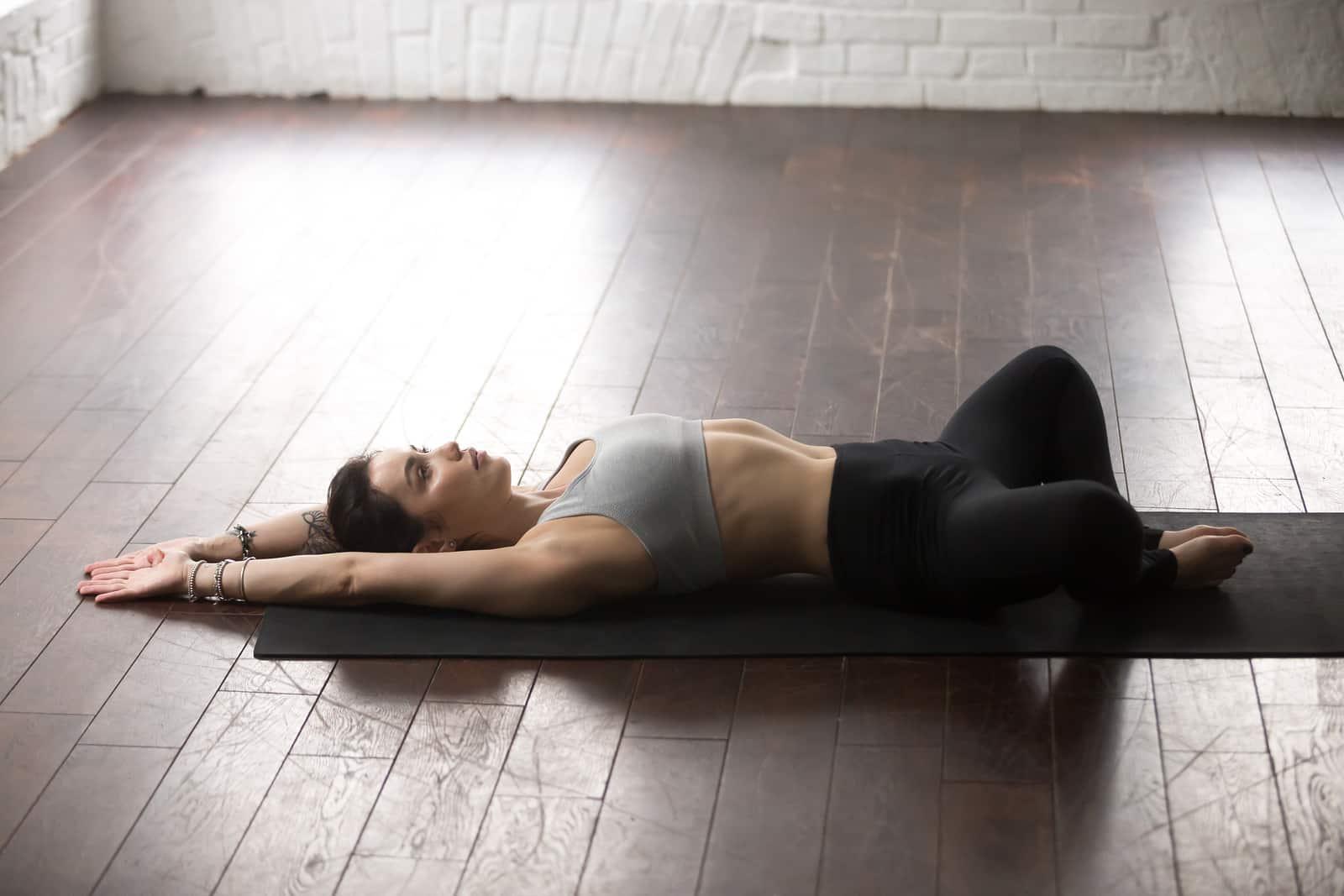 supta baddha konasana, reclined bound angle, for hormones