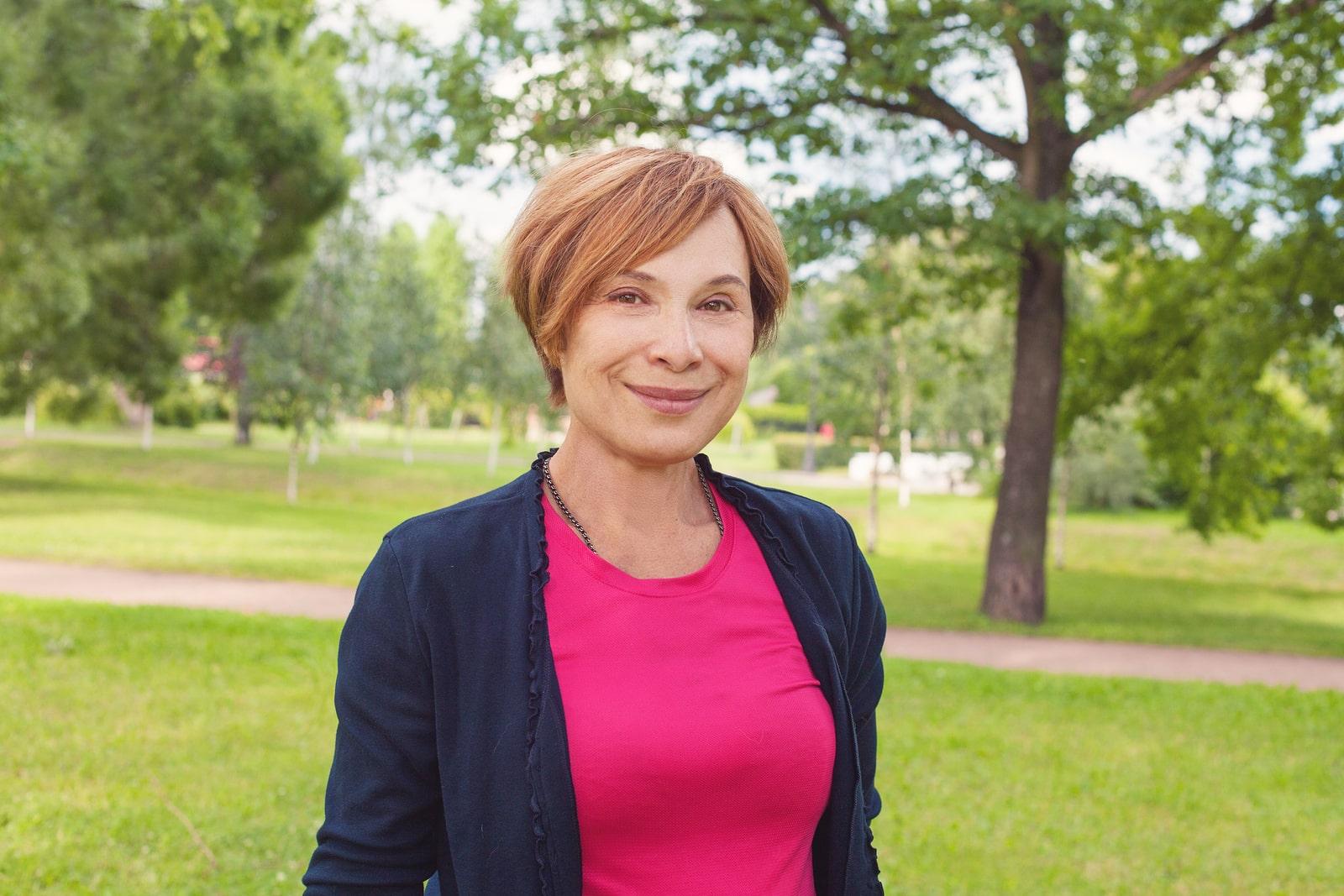 menopausal woman in park