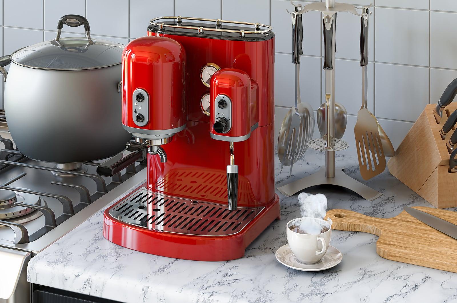 Coffee and espresso can affect gut health- espresso machine on kitchen counter