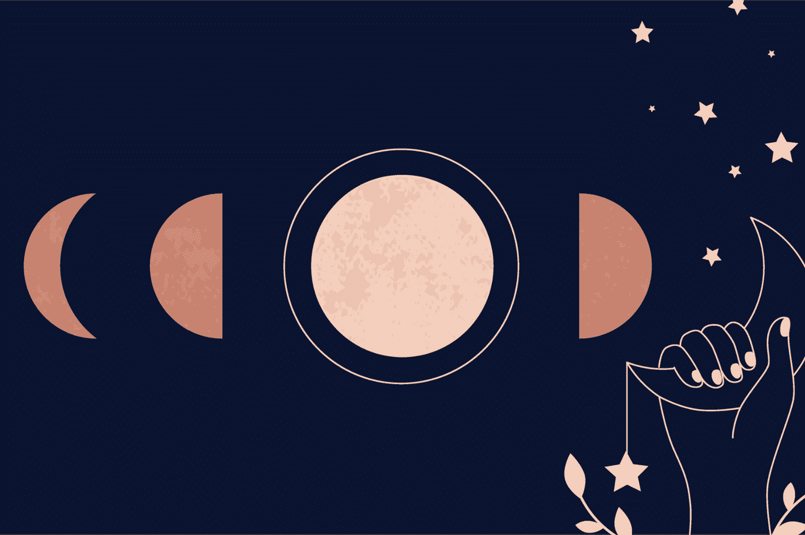 Moon cycle and periods - illustration of several lunar phases