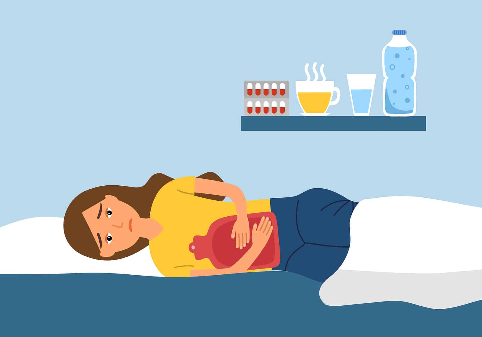 Seed cycling for hormones: help with menstrual cramps. Illustration of woman with ice pad on bed.