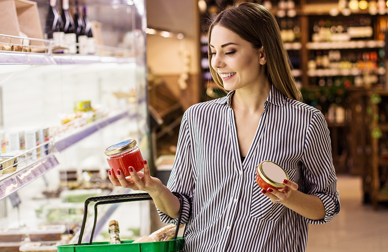 Woman shopping smart with glass containers to reduce exposure to toxins